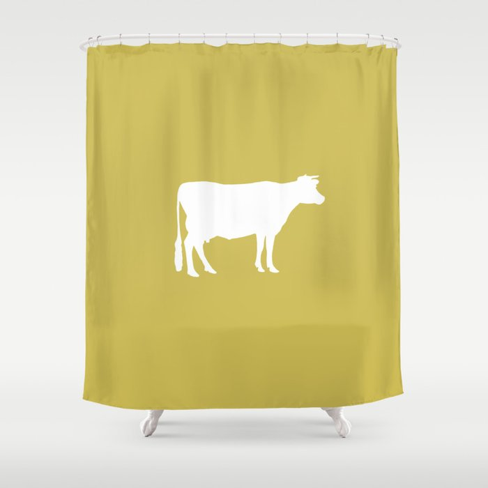 Cow Mustard Yellow Shower Curtain