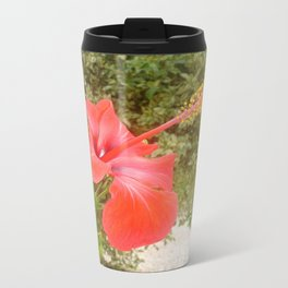 Beautiful Red Hibiscus Flower With Garden Background Travel Mug
