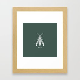 Honey Bee White on Green Background Framed Art Print