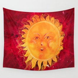 Digital painting of a chubby sun with a funny face Wall Tapestry