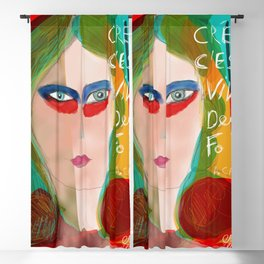 Pop Girl Albert Camus Words Blackout Curtain