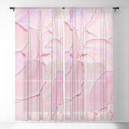 Pastel Pink Abstract Art Sheer Curtain