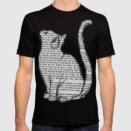 Cat reading itself cute book sticker T-shirt