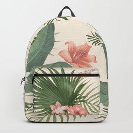 Tropical Coral Flower & Leaf Pattern Backpack