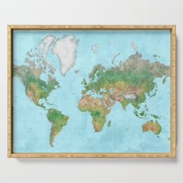 Watercolor physical world map (high detail) Serving Tray