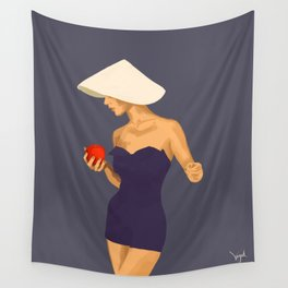 At The Beach: Red Apple Wall Tapestry