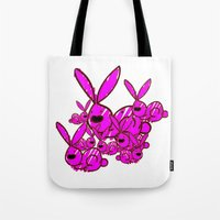 bunnies Tote Bags featuring Bunnies by Christa Bethune Smith