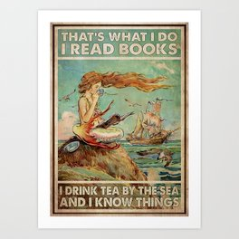 Beach Sea Mermaid Read Books Drink Tea Art Print