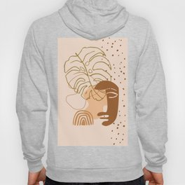 Monstera leaf african human face mask, tribal art print, rainbow dots shapes background, modern art Hoody
