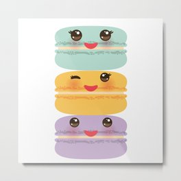 Kawaii macaroon funny orange blue lilac cookie with pink cheeks with pink cheeks and big eyes Metal Print