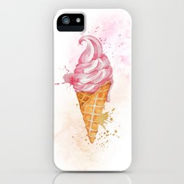 Ice Cream Cone Watercolour and Splashes Art Print iPhone Case