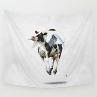religion Wall Tapestries featuring Holy Cow (wordless) by rob art | illustration