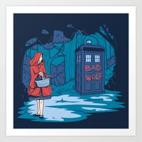 hallion Art Prints featuring Big Bad Wolf by Karen Hallion Illustrations