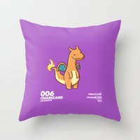 charizard Throw Pillows featuring 006 Charizard by Fightstacy