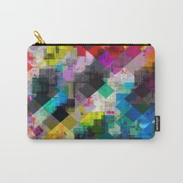 psychedelic square pixel pattern abstract background in red pink blue yellow green Carry-All Pouch