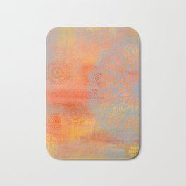 Blue and orange mandala Bath Mat