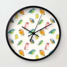 Watercolor Birds Pattern Wall Clock