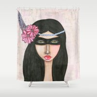 charlie Shower Curtains featuring Charlie by Natalie Briney