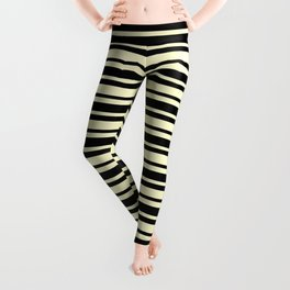Cream Yellow and Black Horizontal Var Size Stripes Leggings