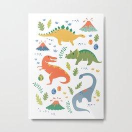Dinos + Volcanoes Metal Print