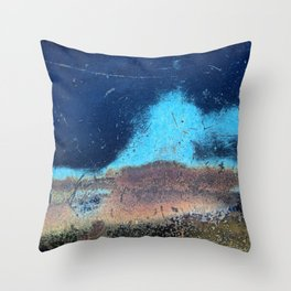 Auto Salvage Blue Rust Throw Pillow