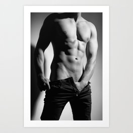 Photograph of a sexy man in Jeans Art Print
