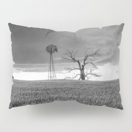 Blowing in the Wind - Black and White Windmill and Dead Tree with Storm in Oklahoma Pillow Sham