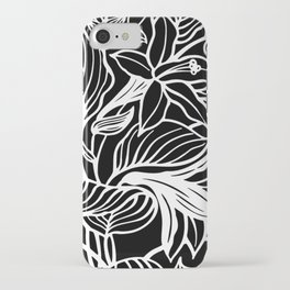 Black White Floral Minimalist iPhone Case