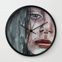 Watercolor portrait, art work, beautiful original girl, painting, modern Wall Clock