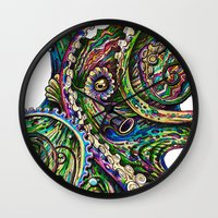 pink floyd Wall Clocks featuring Octopsychedelia by TAOJB