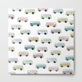 Happy Camper Van Bus blue traveling hippie summer pattern design print Metal Print