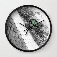 snake Wall Clocks featuring Snake by donotseemeart