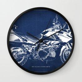 20-2012 Suzuki V-Strom 1000 SE, blueprint motorcycle, man cave decoration Wall Clock