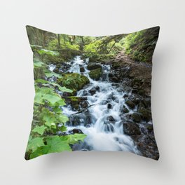 Wahkeena Creek Cascades Throw Pillow