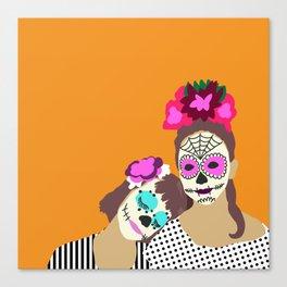 Sugar Skull Halloween Girls Orange Canvas Print
