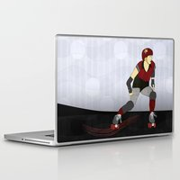 roller derby Laptop & iPad Skins featuring Roller Derby by Aquamarine Studio