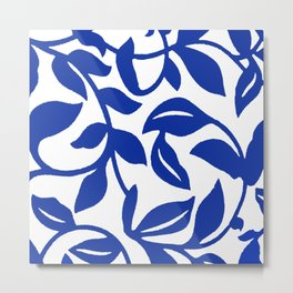 PALM LEAF VINE SWIRL BLUE AND WHITE PATTERN Metal Print