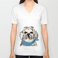 shih tzu V-neck T-shirts featuring Shih Tzu Dog Art by ialbert