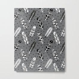Feather geometric grey charcoal neutral modern pattern print dots geo scandinavian scandi pattern pr Metal Print