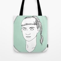 grimes Tote Bags featuring Grimes by Anna Wanda Gogusey