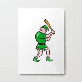 Elf Baseball Player Batting Isolated Full Cartoon Metal Print