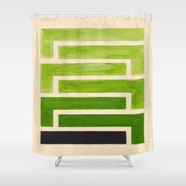 Sap Green Geometric Watercolor Painting Shower Curtain
