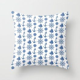 Ships Anchor Beach House Throw Pillow