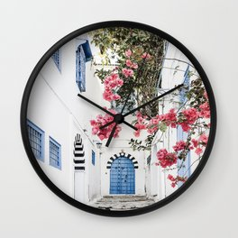 Blue Door Pink Blossom Photo | Tunisia Travel Photography | Alley With Blue Door And Pink Flowers Wall Clock