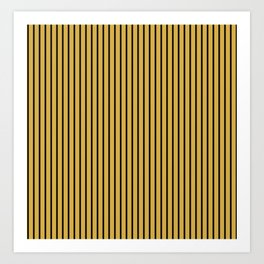 Spicy Mustard and Black Stripes Art Print