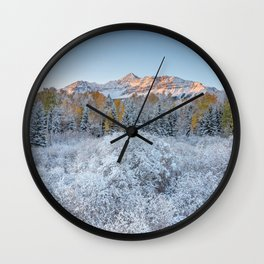 COLORADO ROCKY MOUNTAIN SUNRISE TELLURIDE DRAMATIC LANDSCAPE Wall Clock