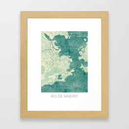 Rio de Janeiro Map Blue Vintage Framed Art Print