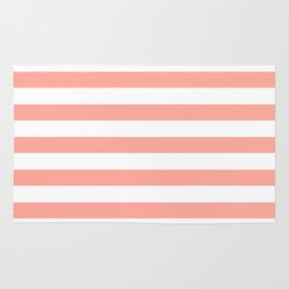 Simply Striped in Salmon Pink and White Rug