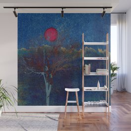 Abstract watercolor landscape with tree Wall Mural