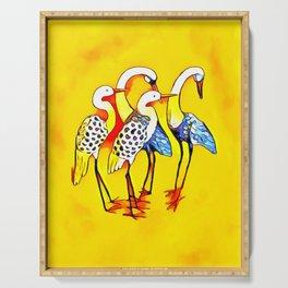 Vibrant Mystical Cranes Serving Tray